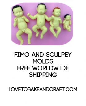 Baby mold, Polymer clay baby moulds,  Fimo baby, Sculpey baby, 4 moulds, Free worldwide shipping